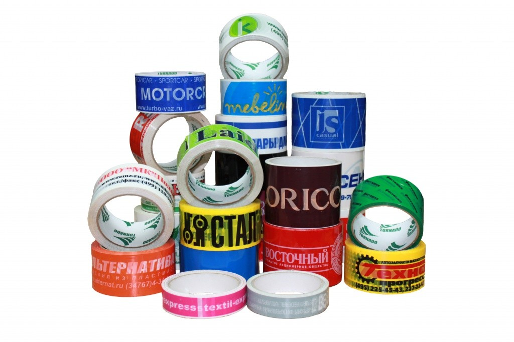 adhesive tape with a logo of different companies